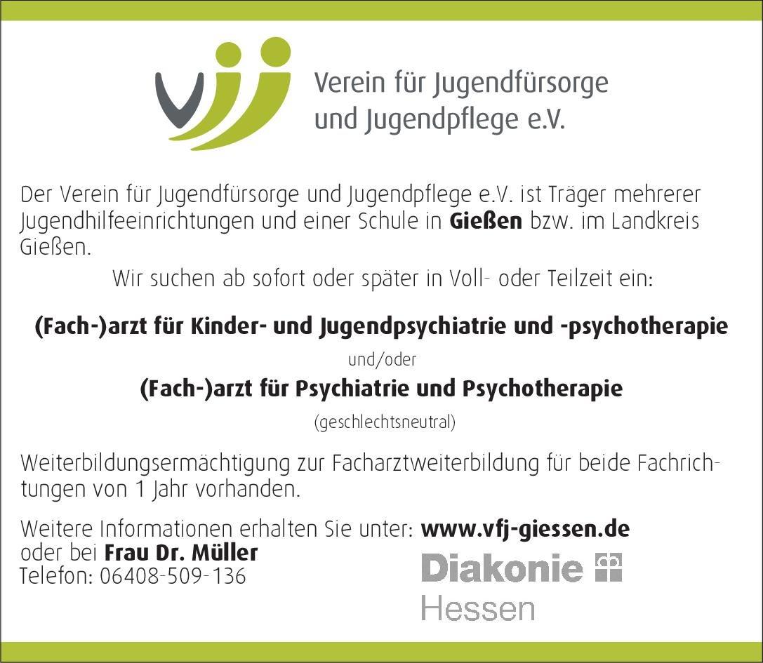 Verein für Jugendfürsorge und Jugendpflege e.V. (Fach-)arzt für Kinder- und Jugendpsychiatrie und -psychotherapie und/oder (Fach-)arzt für Psychiatrie und Psychotherapie (geschlechtsneutral)  Psychiatrie und Psychotherapie, Kinder- und Jugendpsychiatrie und -psychotherapie, Psychiatrie und Psychotherapie Arzt / Facharzt