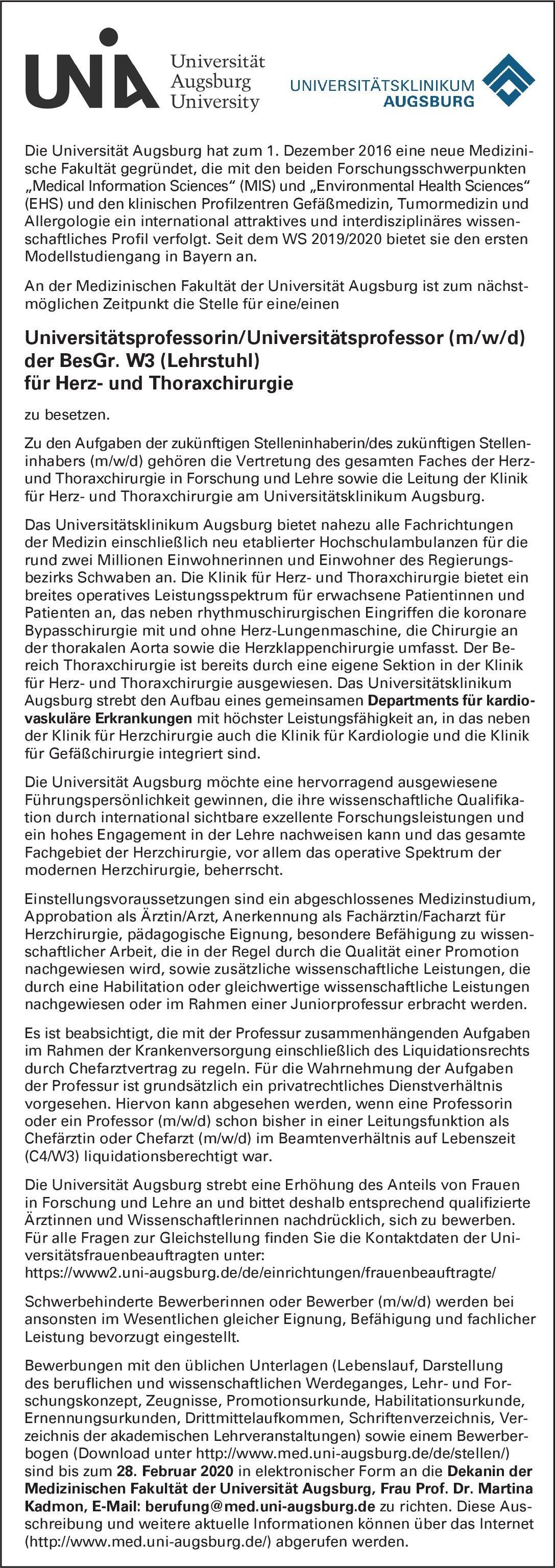 Universität Augsburg Universitätsprofessorin/Universitätsprofessor (m/w/d) der BesGr. W3 (Lehrstuhl) für Herz- und Thoraxchirurgie  Herzchirurgie, Thoraxchirurgie, Chirurgie Professor