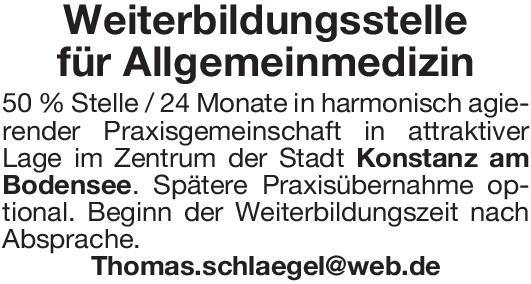 Praxis Weiterbildungsassistent/in - Allgemeinmedizin Allgemeinmedizin Assistenzarzt / Arzt in Weiterbildung