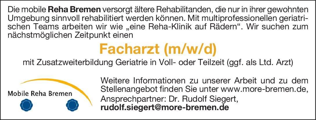 Mobile Reha Bremen Facharzt (m/w/d) mit Zusatzweiterbildung Geriatrie Geriatrie Arzt / Facharzt