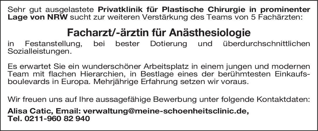Privatklinik für Plastische Chirurgie Facharzt/-ärztin für Anästhesiologie Anästhesiologie / Intensivmedizin Arzt / Facharzt