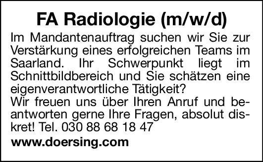 Dörsing Unternehmensberatung FA Radiologie (m/w/d)  Radiologie, Radiologie Arzt / Facharzt