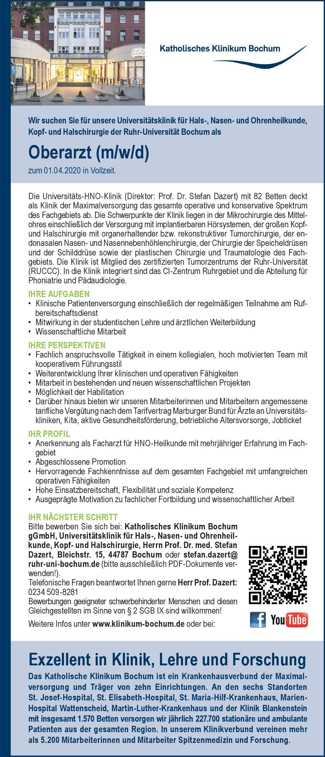 Katholisches Klinikum BochumgGmbH Oberarzt (m/w/d) für Hals-, Nasen- und Ohrenheilkunde  Hals-Nasen-Ohrenheilkunde, Hals-Nasen-Ohrenheilkunde Oberarzt