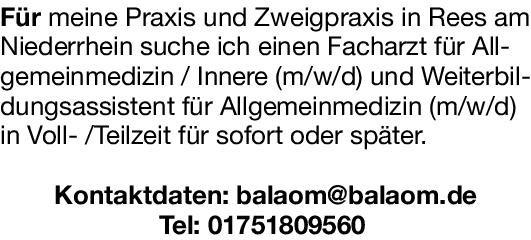 Praxis Facharzt für Allgemeinmedizin / Innere (m/w/d)  Innere Medizin, Allgemeinmedizin, Innere Medizin Arzt / Facharzt
