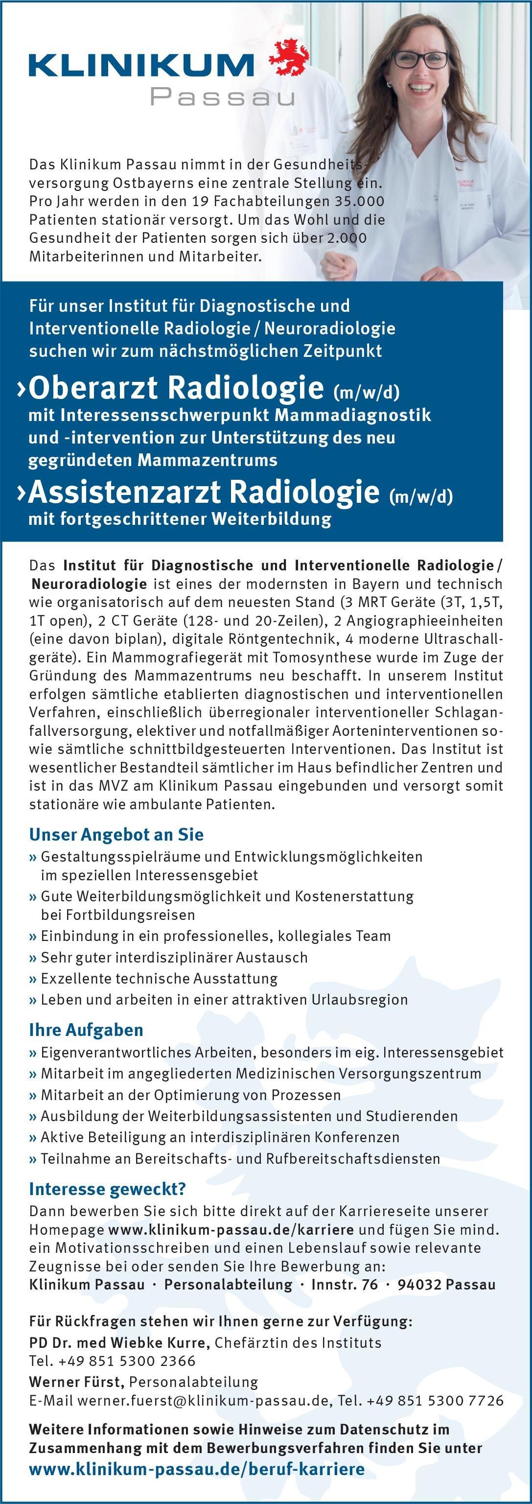 Klinikum Passau Oberarzt Radiologie (m/w/d)  Radiologie, Radiologie Oberarzt