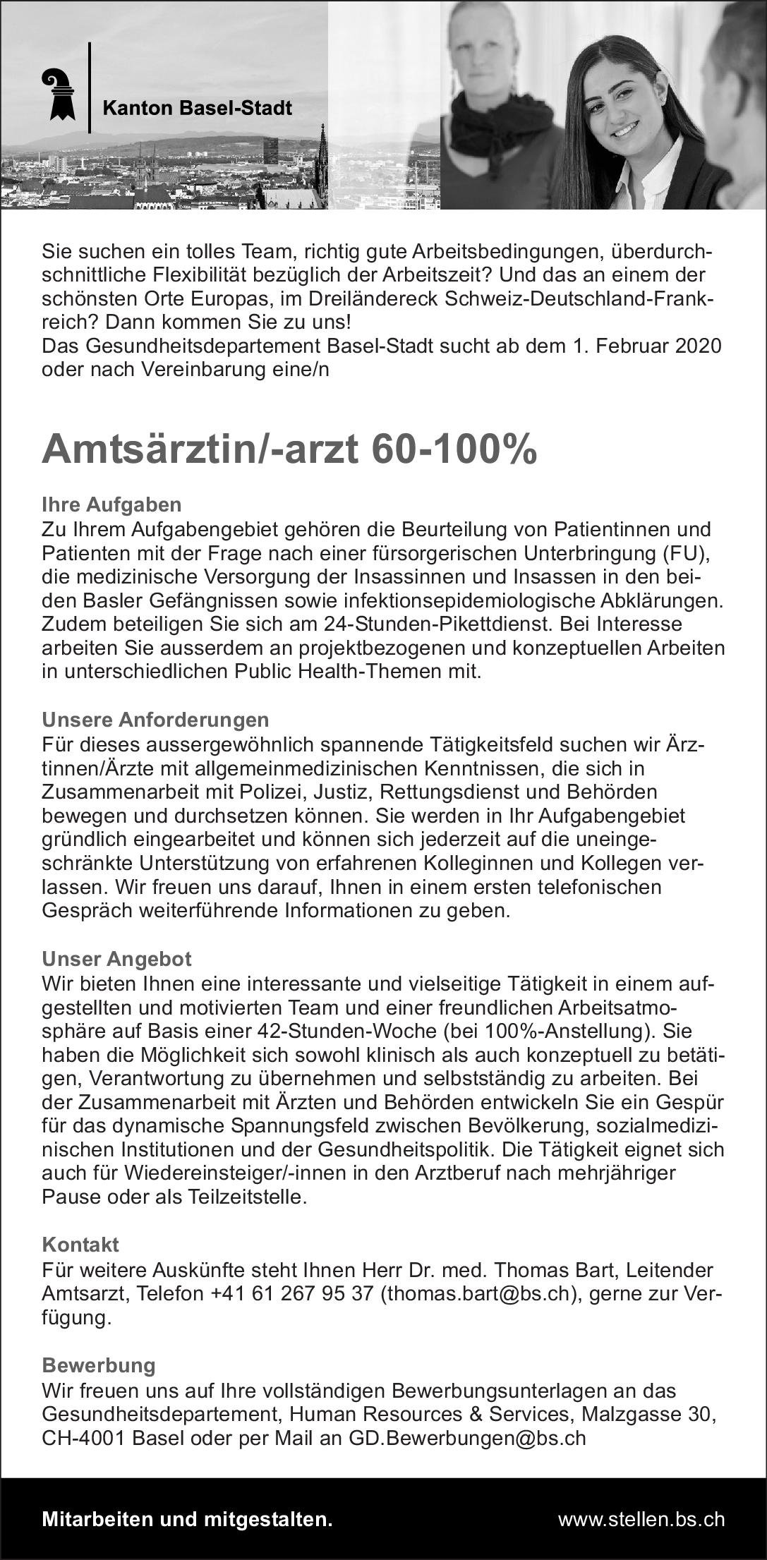 Kanton Basel-Stadt Amtsärztin/-arzt 60-100% Allgemeinmedizin Arzt / Facharzt