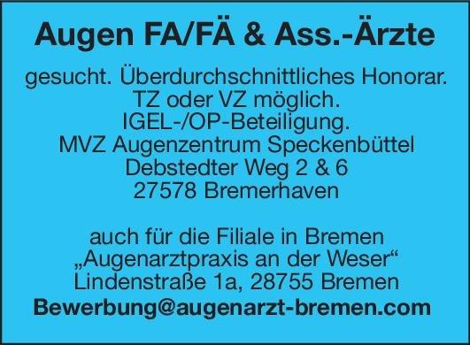 MVZ Augenzentrum Speckenbüttel Augen FA/FÄ & Ass.-Ärzte Augenheilkunde Arzt / Facharzt, Assistenzarzt / Arzt in Weiterbildung