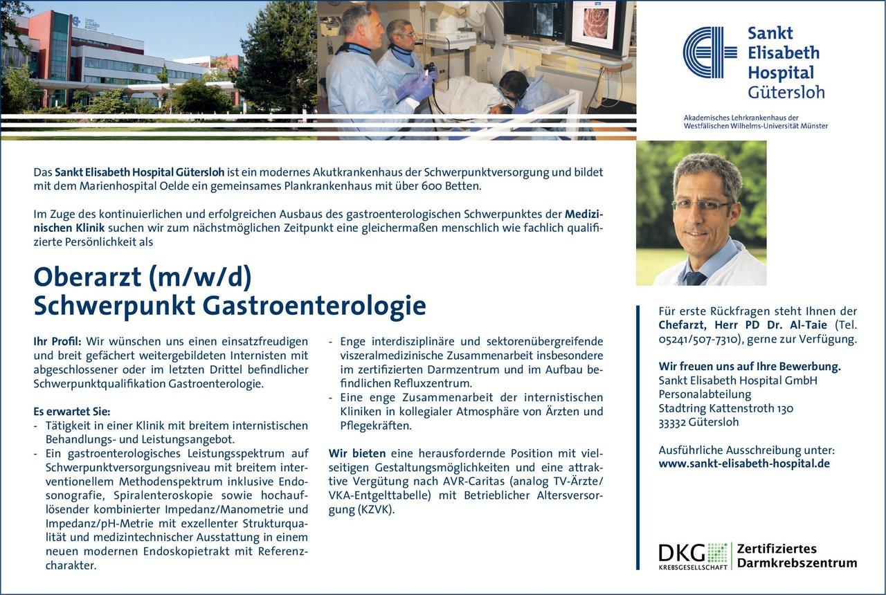 Sankt Elisabeth Hospital Gütersloh Oberarzt (m/w/d) Schwerpunkt Gastroenterologie  Innere Medizin und Gastroenterologie, Innere Medizin Oberarzt