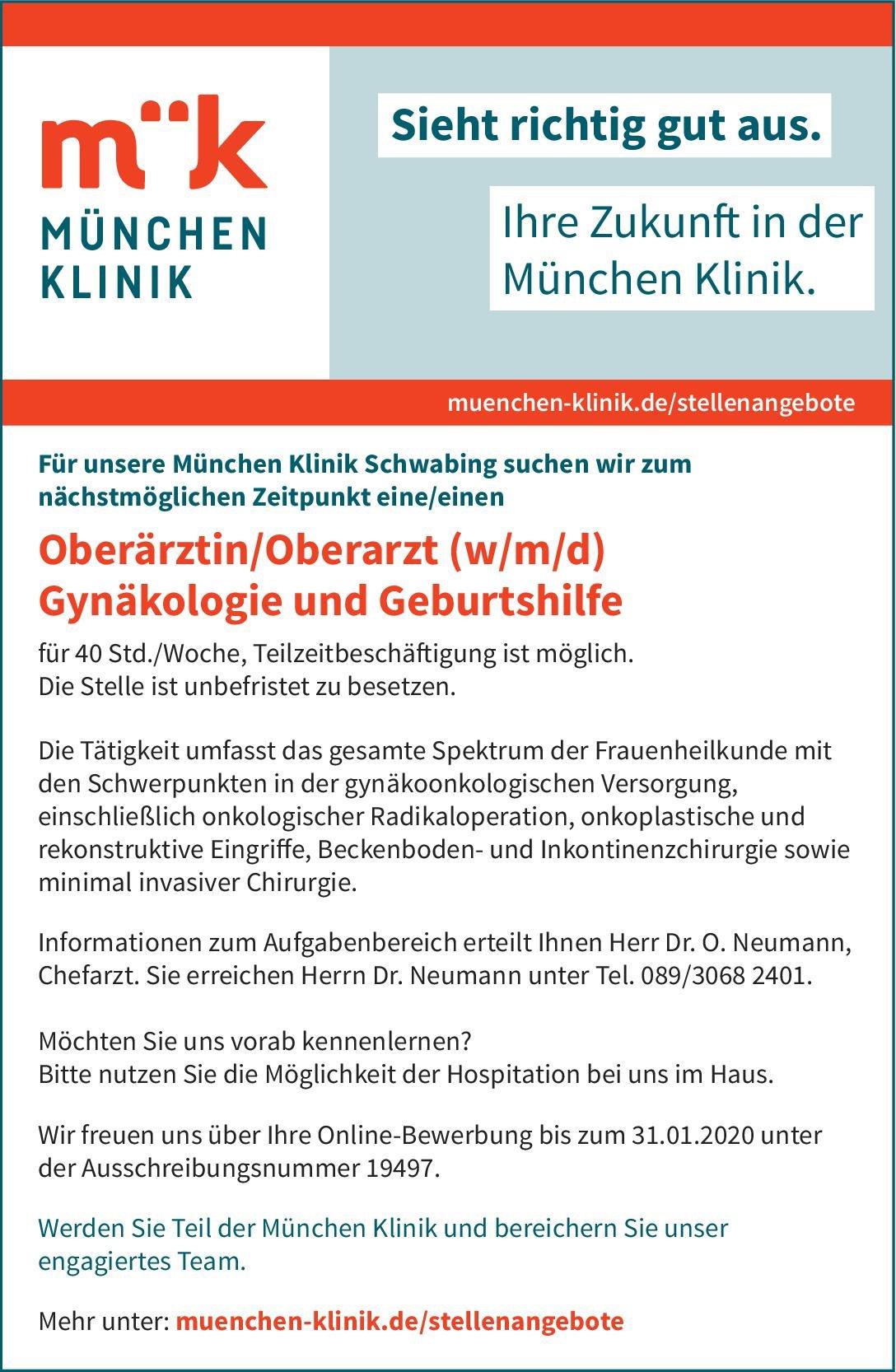 München Klinik Oberärztin/Oberarzt (w/m/d) Gynäkologie und Geburtshilfe  Frauenheilkunde und Geburtshilfe, Frauenheilkunde und Geburtshilfe Oberarzt