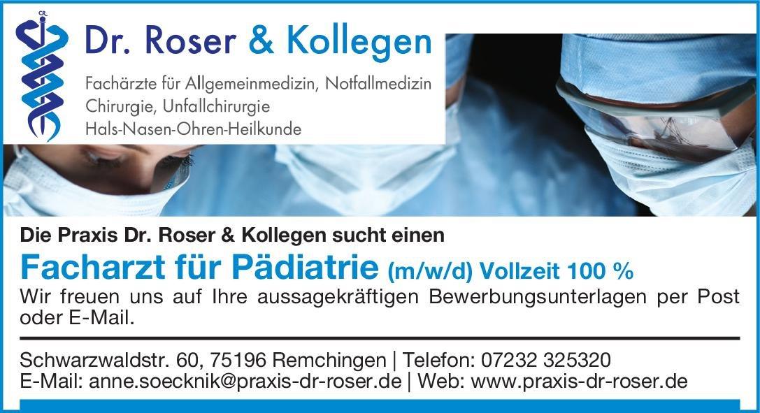 Dr. Roser & Kollegen Facharzt für Pädiatrie (m/w/d) Kinder- und Jugendmedizin Arzt / Facharzt