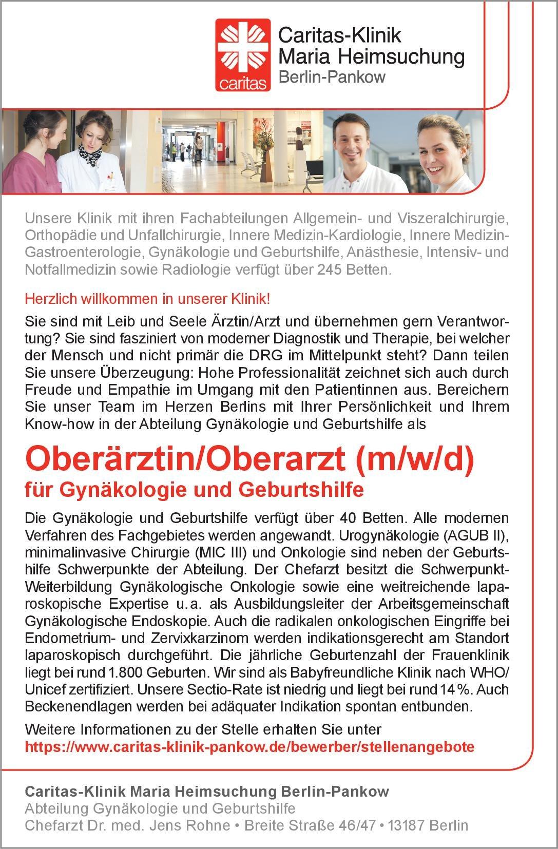 Caritas-Klinik Maria Heimsuchung Berlin-Pankow Oberärztin/Oberarzt (m/w/d) für Gynäkologie und Geburtshilfe  Frauenheilkunde und Geburtshilfe, Frauenheilkunde und Geburtshilfe Oberarzt