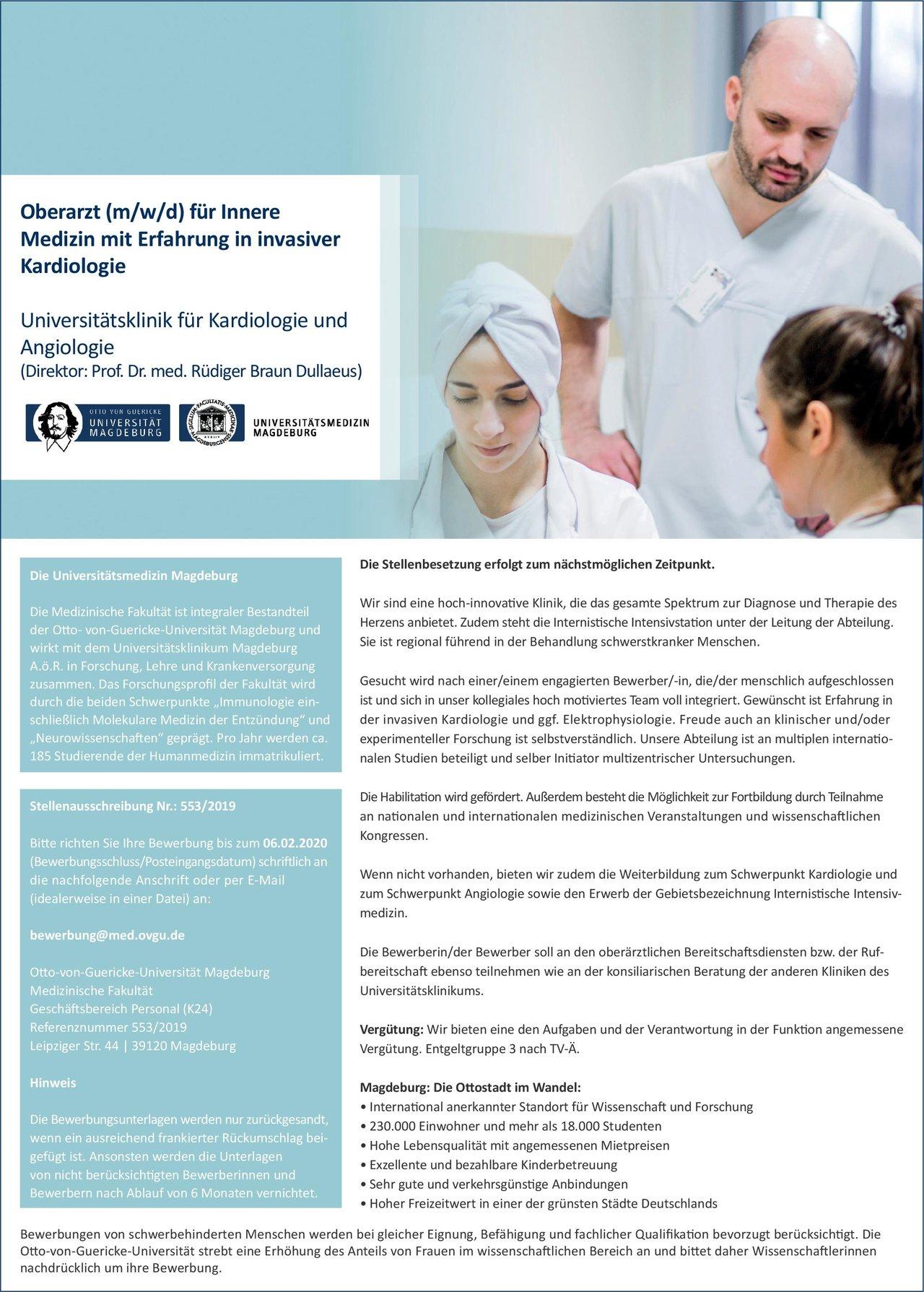 Otto-von-Guericke-Universität Magdeburg Medizinische Fakultät Oberarzt (m/w/d) für Innere Medizin mit Erfahrung in invasiver Kardiologie  Innere Medizin und Kardiologie, Innere Medizin Oberarzt