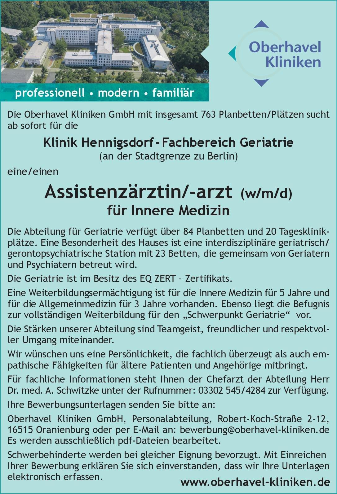 Oberhavel Kliniken GmbH - Klinik Hennigsdorf Assistenzärztin/-arzt (w/m/d) für Innere Medizin  Innere Medizin, Innere Medizin Assistenzarzt / Arzt in Weiterbildung