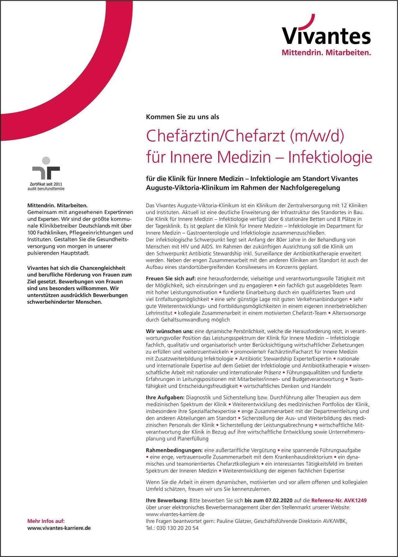 Vivantes Auguste-Viktoria-Klinikum Chefärztin/Chefarzt (m/w/d) für Innere Medizin – Infektiologie  Innere Medizin, Infektions- und Tropenmedizin, Innere Medizin Chefarzt