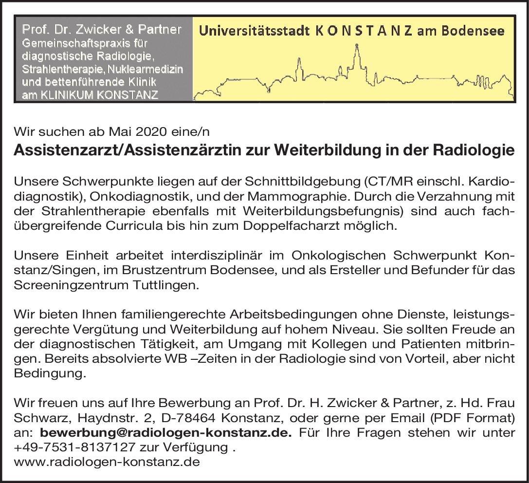 Prof. Dr. Zwicker & Partner Assistenzärztin/Assistenzarzt zur Weiterbildung - Radiologie  Radiologie, Radiologie Assistenzarzt / Arzt in Weiterbildung