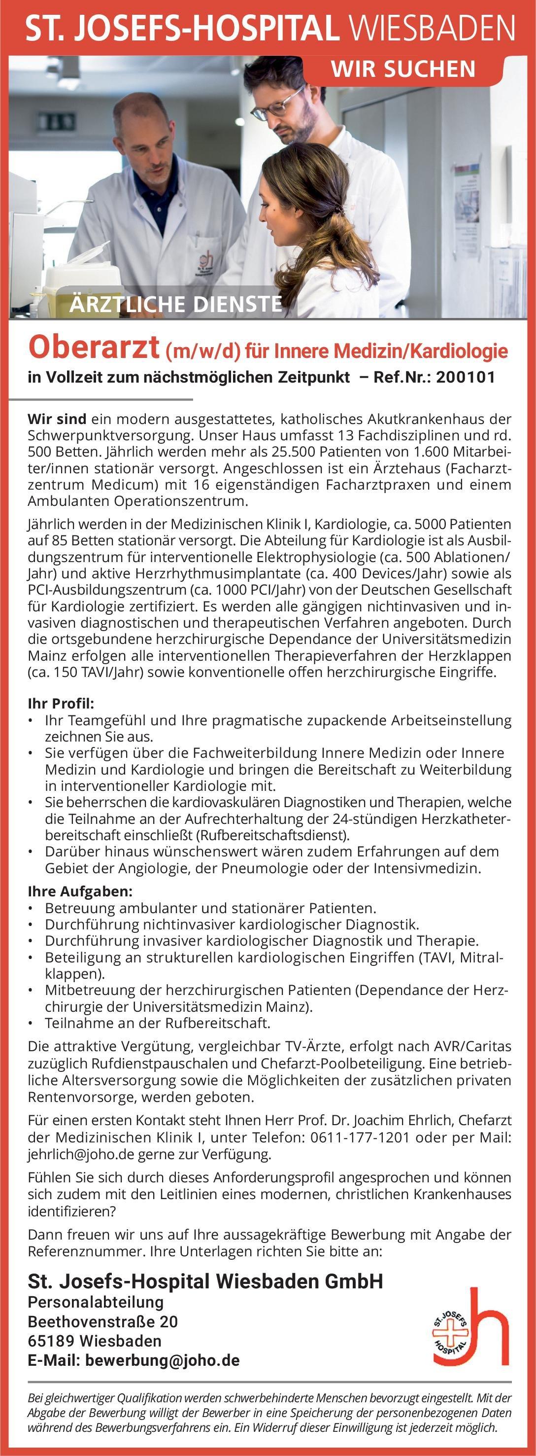 St. Josefs-Hospital Wiesbaden GmbH Oberarzt (m/w/d) für Innere Medizin/Kardiologie  Innere Medizin und Kardiologie, Innere Medizin Oberarzt