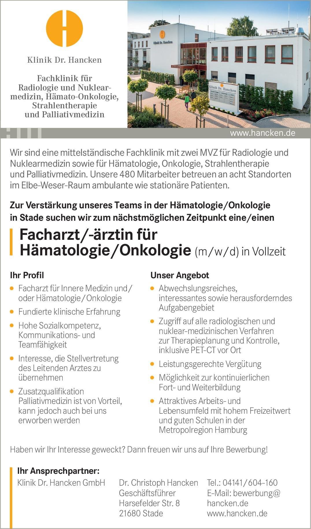 Klinik Dr. Hancken Facharzt/-ärztin für Hämatologie/Onkologie (m/w/d)  Innere Medizin und Hämatologie und Onkologie, Innere Medizin Arzt / Facharzt