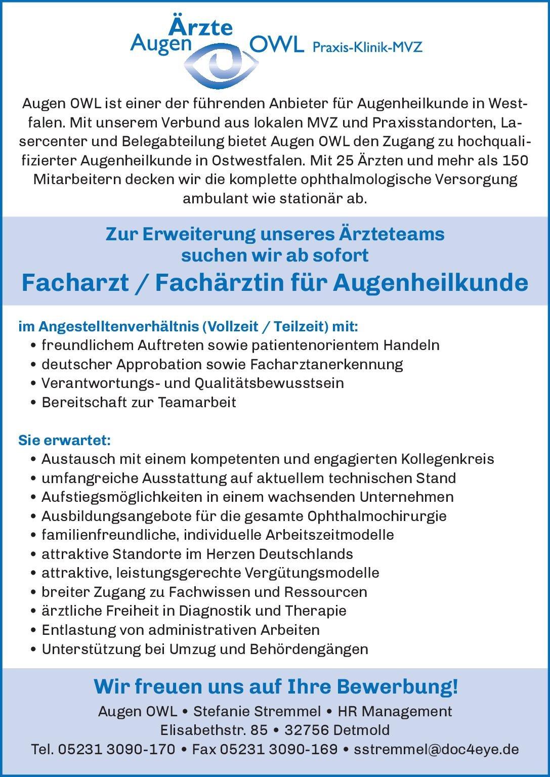 Augen Ärzte OWL Facharzt / Fachärztin für Augenheilkunde Augenheilkunde Arzt / Facharzt