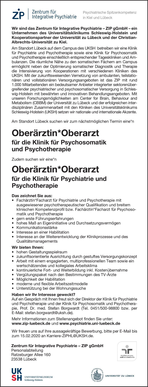 Zentrum für Integrative Psychiatrie – ZIP gGmbH Oberärztin/Oberarzt für die Klinik für Psychiatrie und Psychotherapie  Psychiatrie und Psychotherapie, Psychiatrie und Psychotherapie Oberarzt