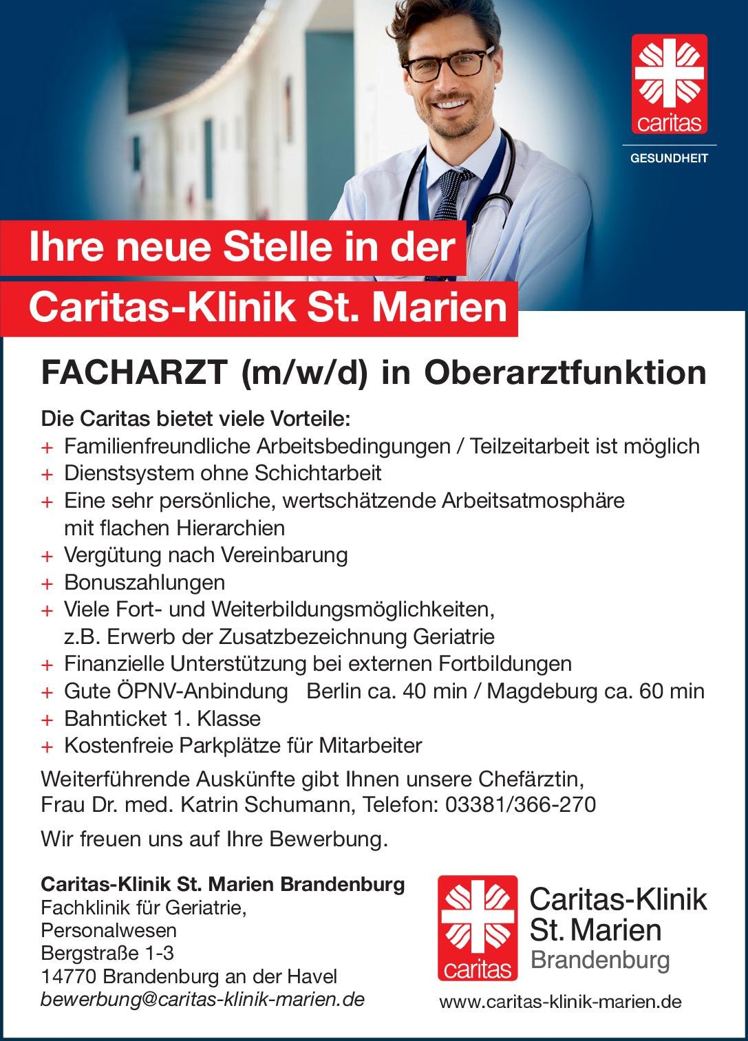 Caritas-Klinik St. Marien Brandenburg Facharzt (m/w/d) in Oberarztfunktion für die Klinik für Geriatrie Geriatrie Arzt / Facharzt, Oberarzt