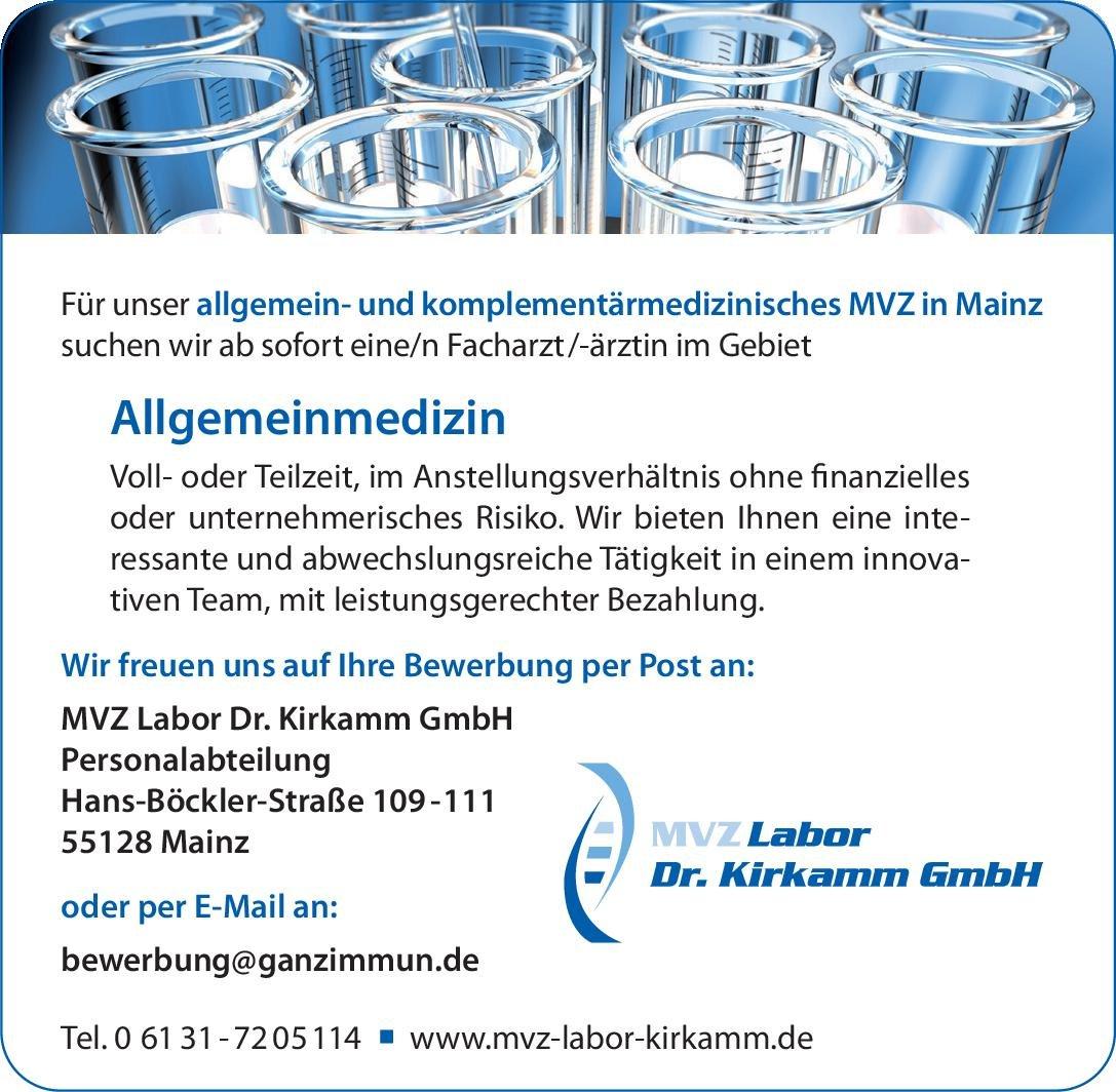 MVZ Labor Dr. Kirkamm GmbH Facharzt /-ärztin im Gebiet Allgemeinmedizin Allgemeinmedizin Arzt / Facharzt