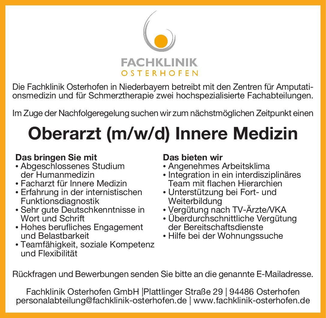 Fachklinik Osterhofen in Niederbayern Oberarzt (m/w/d) Innere Medizin  Innere Medizin, Innere Medizin Oberarzt