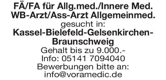 FÄ/FA für Allgemeinmed./Innere Med. WB-Arzt/Ass-Arzt Allgemeinmed.  Innere Medizin, Allgemeinmedizin, Innere Medizin Arzt / Facharzt
