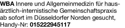 Gemeinschaftspraxis Weiterbildungassistent / Innere und Allgemeinmedizin  Innere Medizin, Allgemeinmedizin, Innere Medizin Assistenzarzt / Arzt in Weiterbildung
