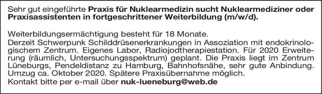 Praxis Nuklearmediziner oder Praxisassistenten in fortgeschrittener Weiterbildung (m/w/d). Nuklearmedizin Arzt / Facharzt, Assistenzarzt / Arzt in Weiterbildung