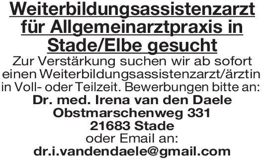 Praxis Dr. med. Irena van den Daele Weiterbildungsassistenzarzt Allgemeinmedizin Allgemeinmedizin Assistenzarzt / Arzt in Weiterbildung