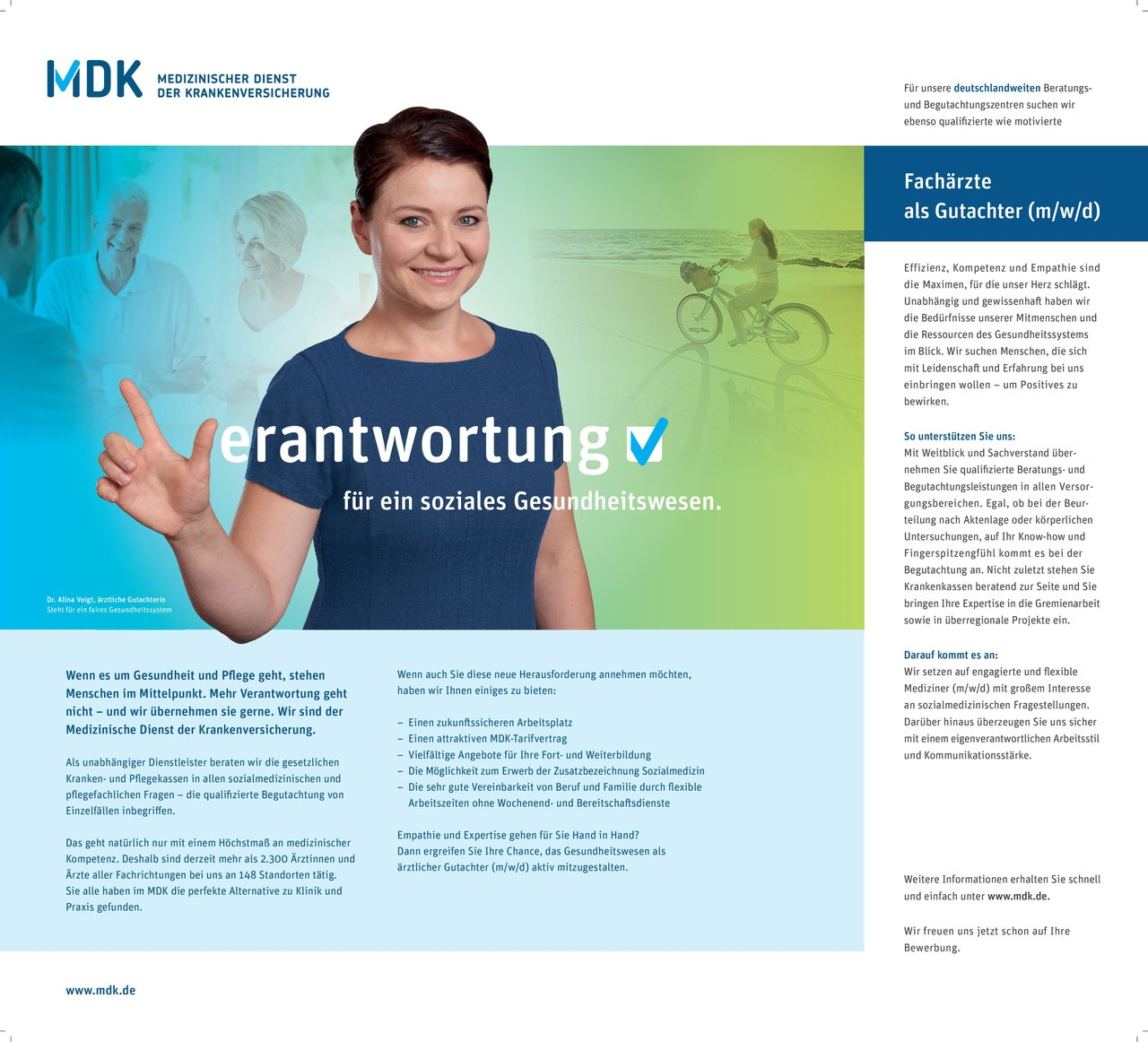 MDK Medizinischer Dienst der Krankenversicherung Fachärzte als Gutachter (m/w/d) * ohne Gebiete Arzt / Facharzt, Gutachter / Dokumentar