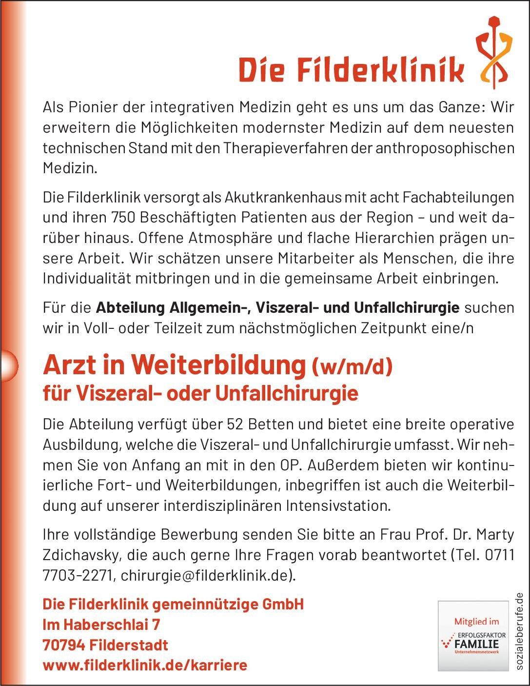 Die Filderklinik gemeinnützige GmbH Arzt in Weiterbildung (w/m/d) für Viszeral- oder Unfallchirurgie  Orthopädie und Unfallchirurgie, Viszeralchirurgie, Chirurgie Assistenzarzt / Arzt in Weiterbildung