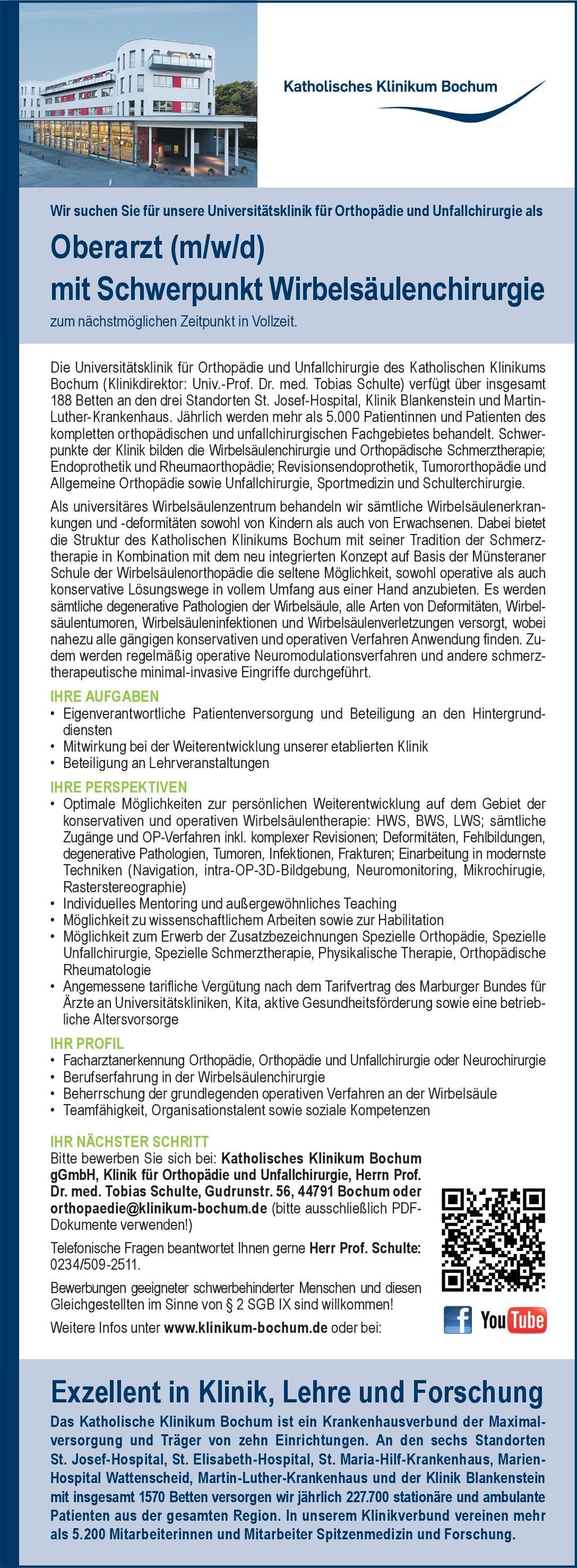 Katholisches Klinikum Bochum Oberarzt (m/w/d) mit Schwerpunkt Wirbelsäulenchirurgie  Orthopädie und Unfallchirurgie, Chirurgie, Neurochirurgie Oberarzt