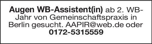 Gemeinschaftspraxis Augen WB-Assistent(in) ab 2. WB-Jahr Augenheilkunde Assistenzarzt / Arzt in Weiterbildung