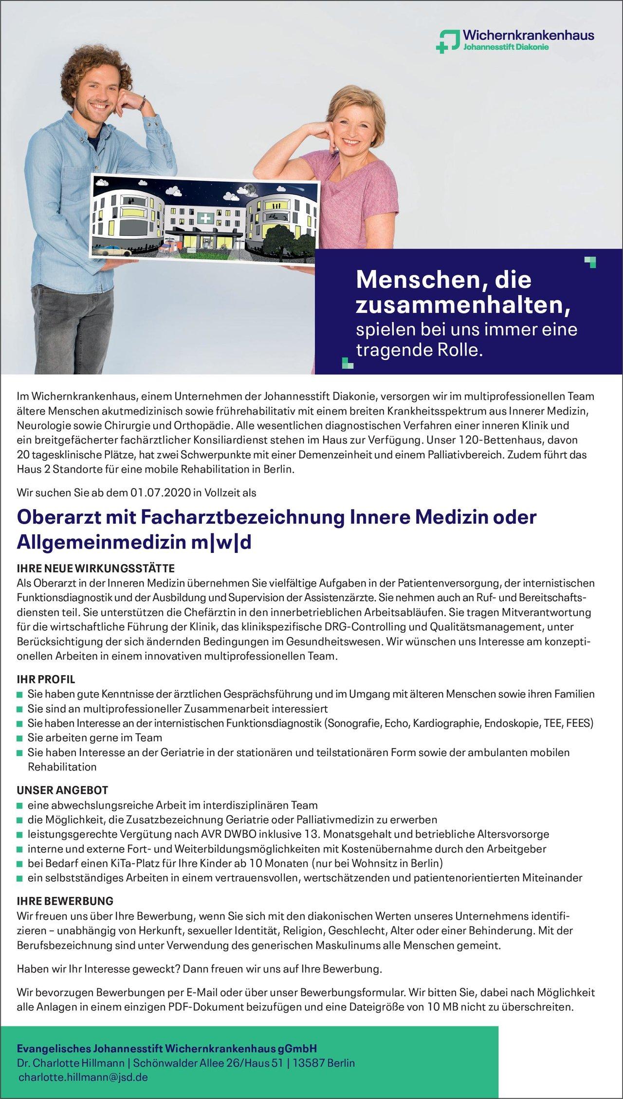 Evangelisches Johannesstift Wichernkrankenhaus gGmbH Oberarzt mit Facharztbezeichnung Innere Medizin oder Allgemeinmedizin m/w/d  Innere Medizin, Allgemeinmedizin, Innere Medizin Oberarzt