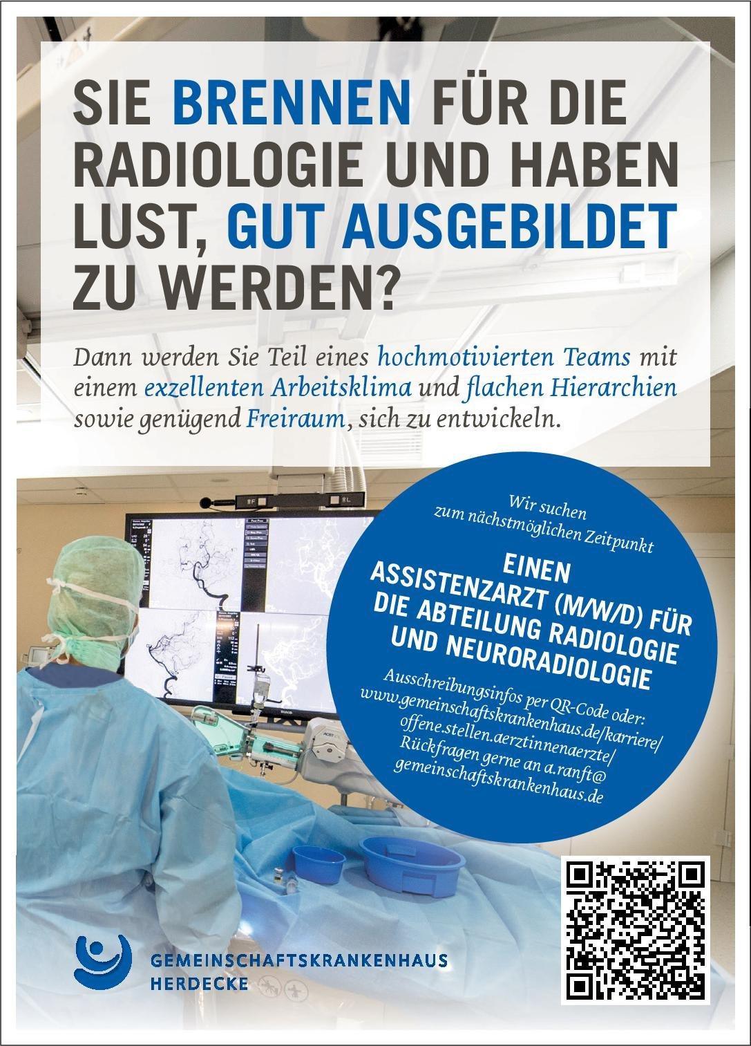 Gemeinschaftskrankenhaus Herdecke Assistenzarzt (m/w/d) für die Radiologie und Neuroradiologie  Neuroradiologie, Radiologie, Radiologie Assistenzarzt / Arzt in Weiterbildung
