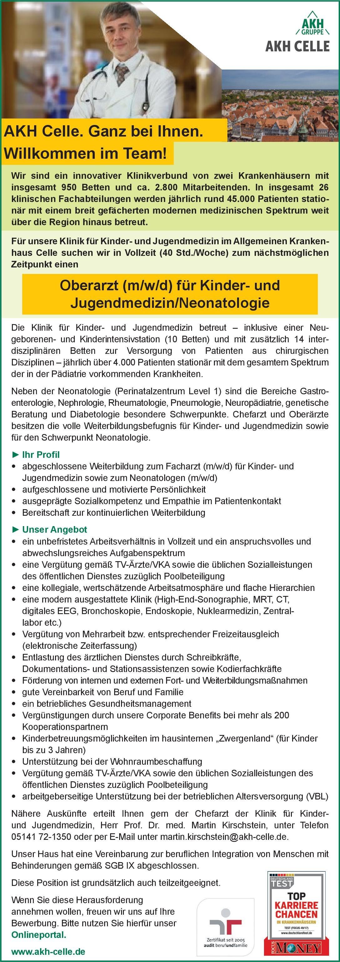 Allgemeines Krankenhaus Celle Oberarzt (m/w/d) für Kinder- und Jugendmedizin/Neonatologie  Kinder- und Jugendmedizin, Neonatologie, Kinder- und Jugendmedizin Oberarzt