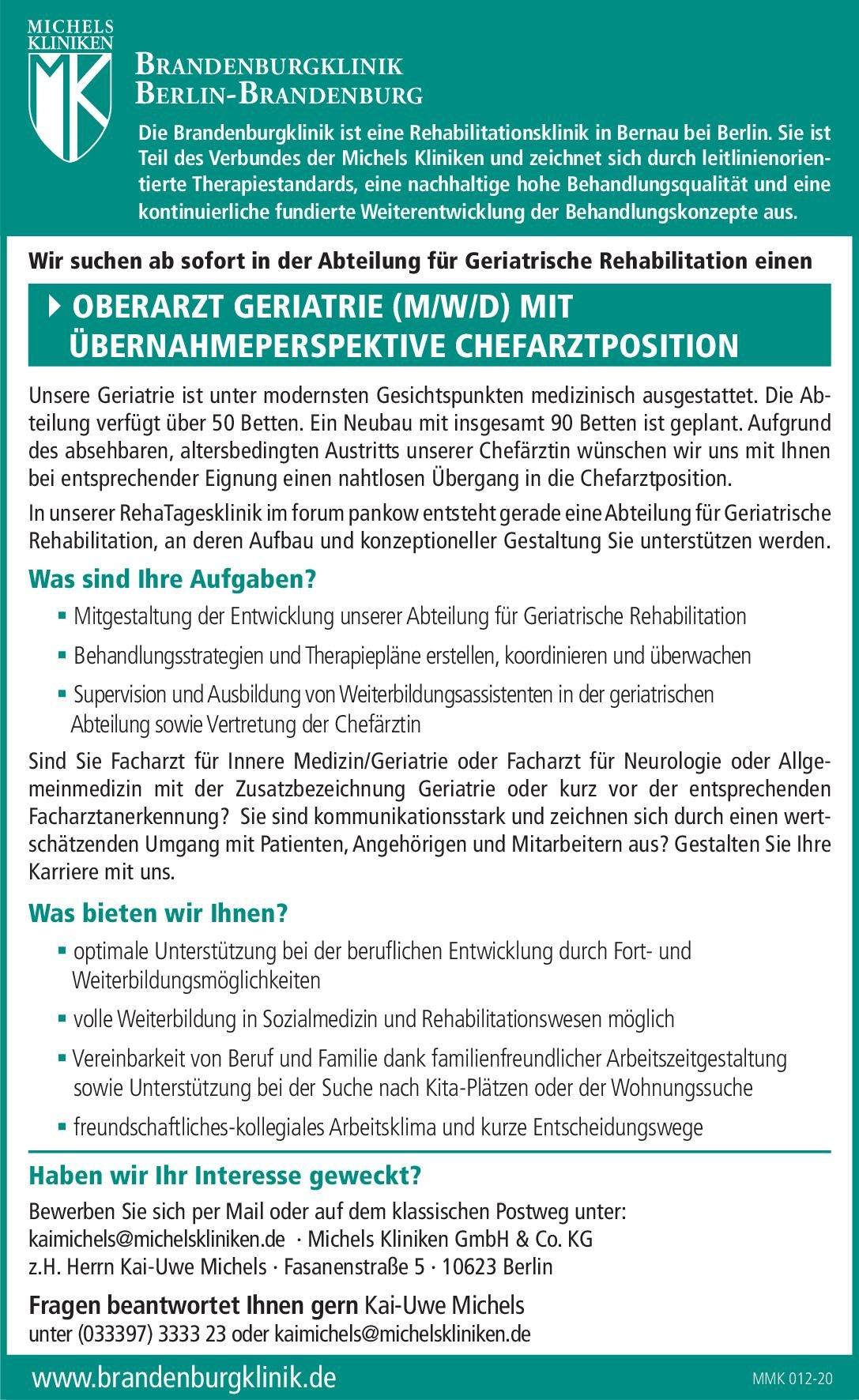 Michels Kliniken GmbH & Co. KG Oberarzt Geriatrie (m/w/d) mit Übernahmeperspektive Chefarztposition Geriatrie Oberarzt