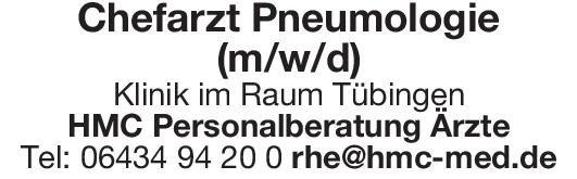 Klinik Chefarzt Pneumologie (m/w/d)  Innere Medizin und Pneumologie, Innere Medizin Chefarzt