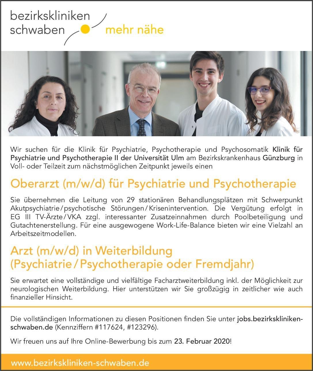 bezirkskliniken schwaben - Bezirkskrankenhaus Günzburg Arzt (m/w/d) in Weiterbildung (Psychiatrie/Psychotherapie oder Fremdjahr)  Psychiatrie und Psychotherapie, Psychiatrie und Psychotherapie Assistenzarzt / Arzt in Weiterbildung