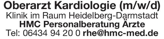 Klinik Oberarzt Kardiologie (m/w/d)  Innere Medizin und Kardiologie, Innere Medizin Oberarzt