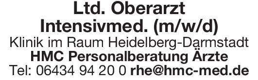 Klinik Ltd. Oberarzt Intensivmed. (m/w/d) Anästhesiologie / Intensivmedizin Oberarzt