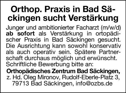 Orthopädisches Zentrum Bad Säckingen Facharzt (m/w/d) - Orthopädie  Orthopädie und Unfallchirurgie, Chirurgie Arzt / Facharzt