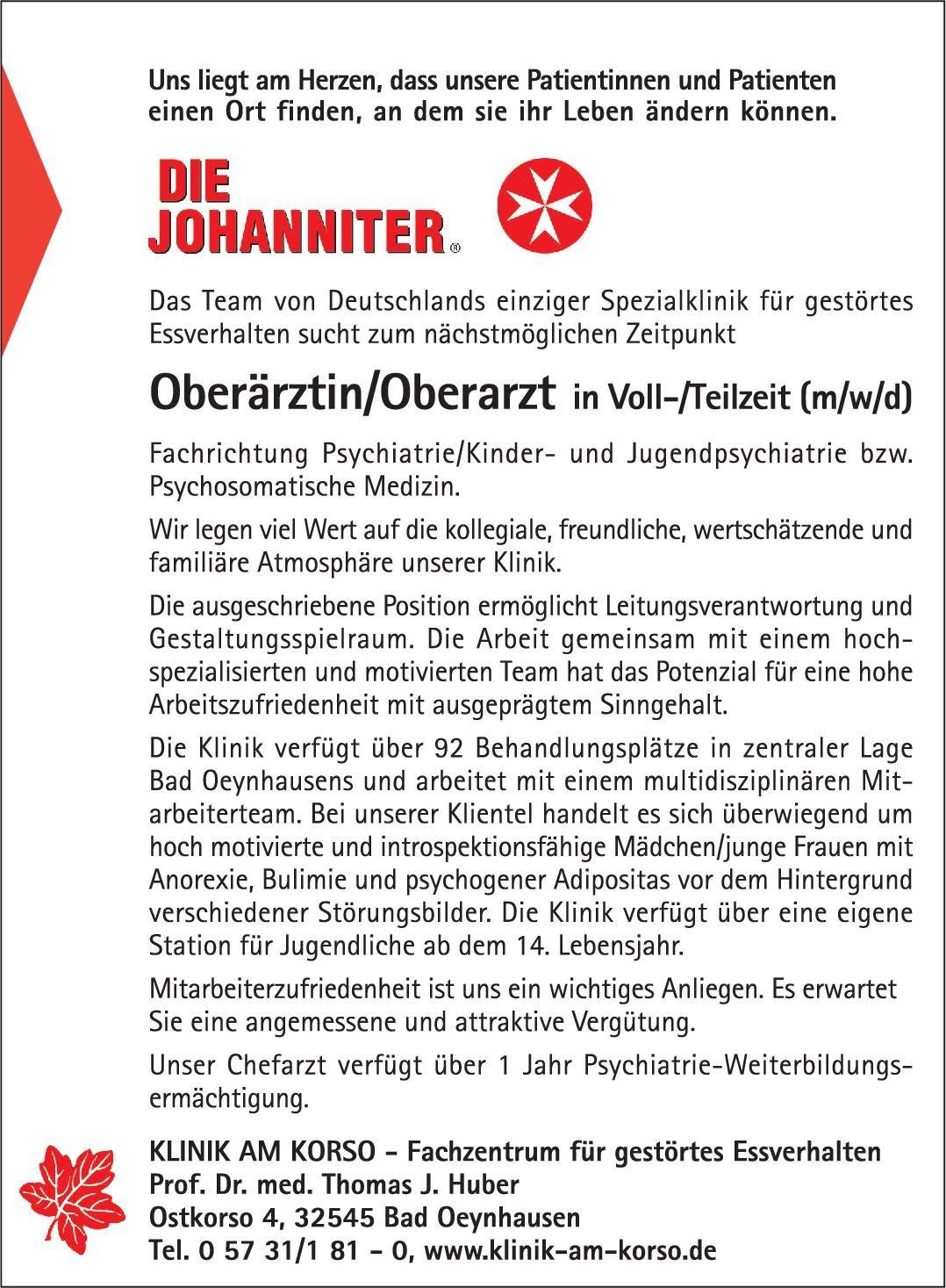Klinik am Korso Oberärztin/Oberarzt (m/w/d) Kinder- und Jugendpsychiatrie Kinder- und Jugendpsychiatrie und -psychotherapie Oberarzt