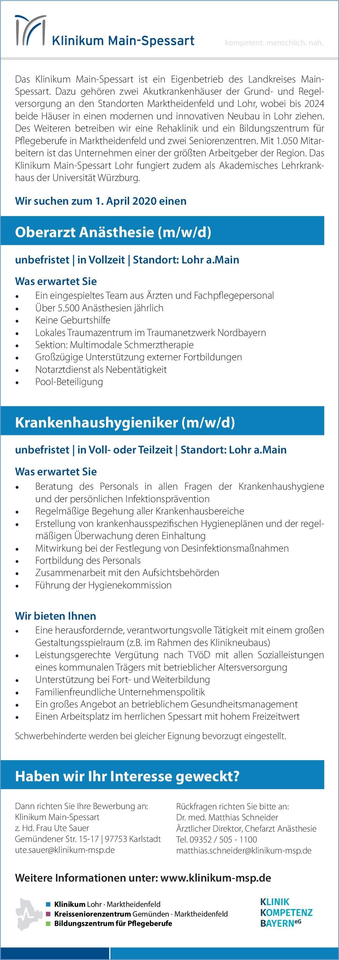 Klinikum Main-Spessart Krankenhaushygieniker (m/w/d) Krankenhaushygiene Arzt / Facharzt