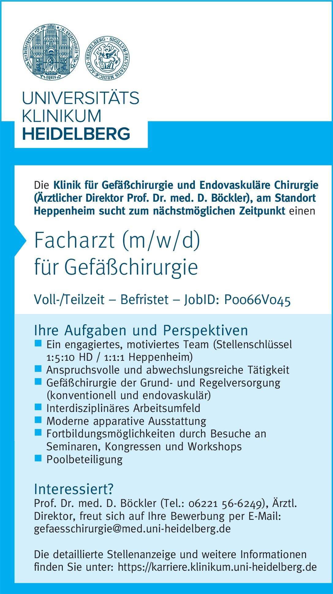 Universitätsklinikum Heidelberg Facharzt (m/w/d) für Gefäßchirurgie  Gefäßchirurgie, Chirurgie Arzt / Facharzt