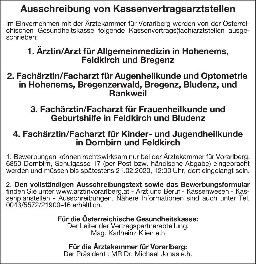 Vorarlberger Gebietskrankenkasse Fachärztin/Facharzt für Frauenheilkunde und Geburtshilfe  Frauenheilkunde und Geburtshilfe, Frauenheilkunde und Geburtshilfe Arzt / Facharzt