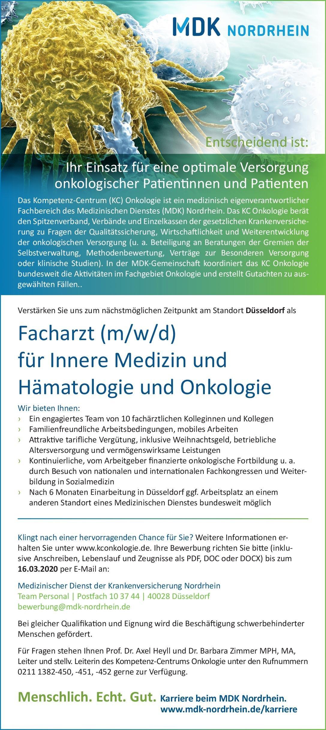 MDK Nordrhein Facharzt (m/w/d) für Innere Medizin und Hämatologie und Onkologie  Innere Medizin und Hämatologie und Onkologie, Innere Medizin Arzt / Facharzt