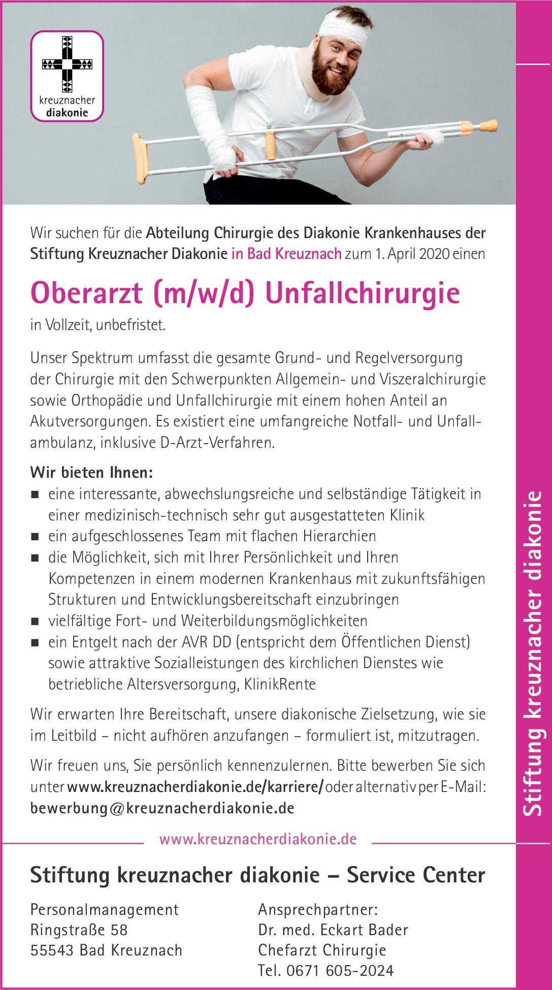 Diakonie Krankenhaus der Stiftung Kreuznacher Diakonie Oberarzt (m/w/d) Unfallchirurgie  Orthopädie und Unfallchirurgie, Chirurgie Oberarzt