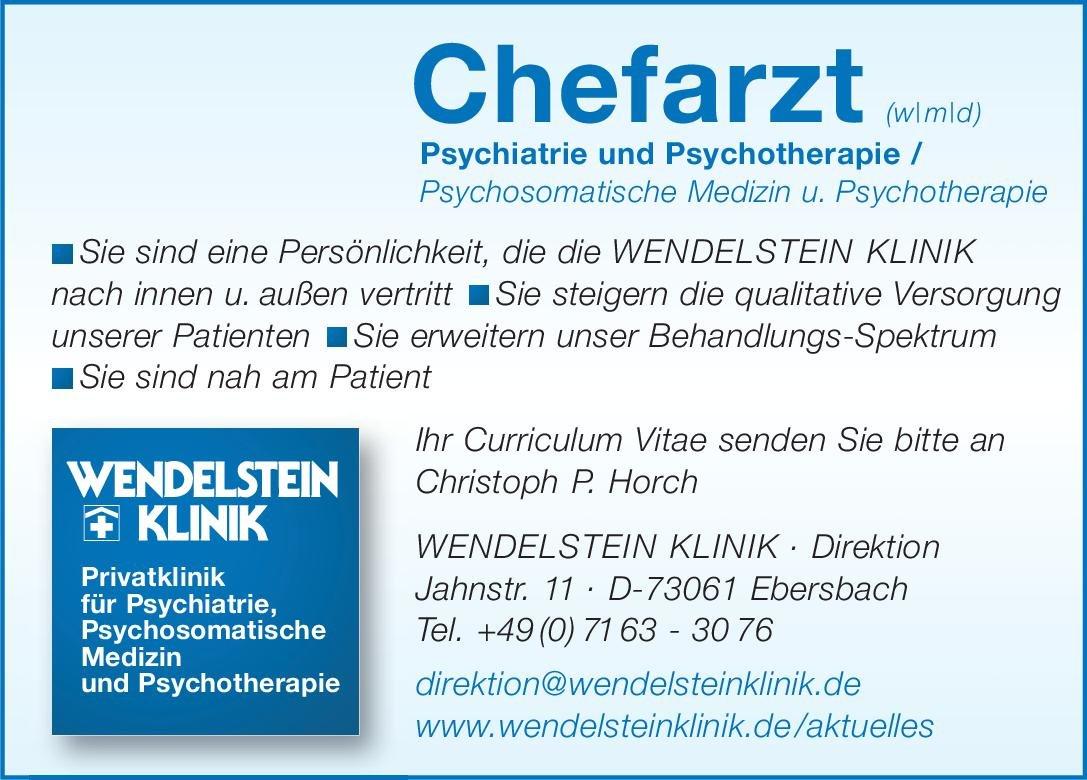 WENDELSTEIN KLINIK Chefarzt (w/m/d) Psychiatrie und Psychotherapie / Psychosomatische Medizin u. Psychotherapie  Psychiatrie und Psychotherapie, Psychiatrie und Psychotherapie, Psychosomatische Medizin und Psychotherapie Chefarzt